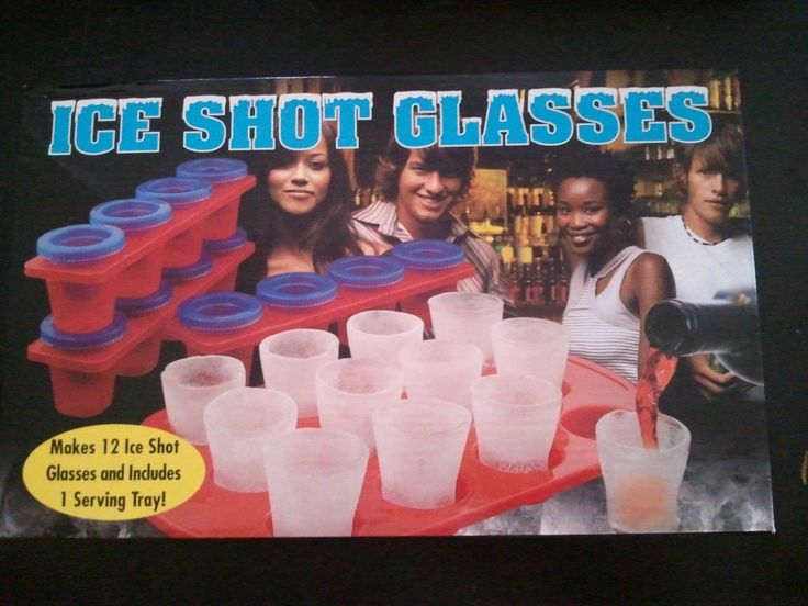 Pkg Of 12 Ice Shot Glass Molds + Serving Tray (#10-100) In Box