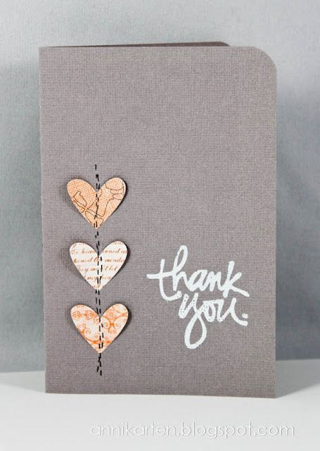 Handmade Thank You Card Gray Base Three Punched Hearts In