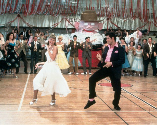 Grease! This movie makes me think happy thoughts and makes me want to learn how to dance!