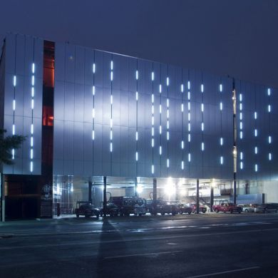 ""\""""Ave Fenix"""" fire station: Location: Ciudad Juarez, Chihuahua, Mexico Year of Construction: 2005 Architects: ArchitectsBGP Arquitectura, AT 103  Ultra modern fire station with a glass facade and an interesting circulation within the building.""390|390|?|en|2|ce073ebc1d7018951d4696d54ce1905b|False|UNLIKELY|0.3075193464756012