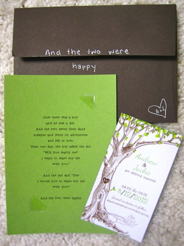 Adorable invitations...: Tree Wedding Invitations, Wedding Ideas, Offbeat Bride, Wedding Photos, The Give Trees, Invitations Diy, Shel Silverstein, Trees Wedding Invitations, Trees Invitations
