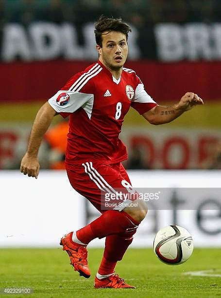Valeri Kazaishvili of Georgia runs with the ball during the UEFA EURO 2016 Group D qualifying match between Germany and Georgia at Stadium Leipzig on...