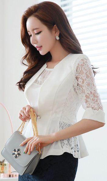 StyleOnme_Pearl Closure Floral Lace Collarless Jacket #lace #white #floral #jacket #koreanfashion #kstyle #kfashion #seoul