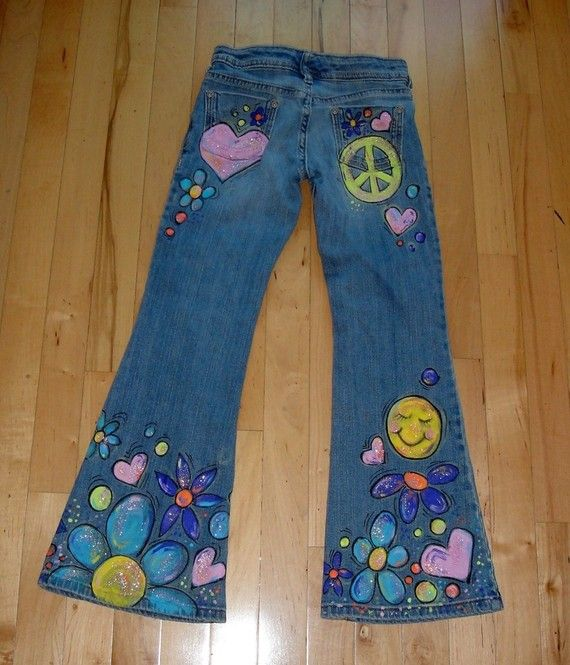 flower child hand painted jeans note children and cus d 39 amato. Black Bedroom Furniture Sets. Home Design Ideas