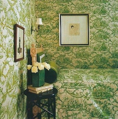 Coordinating wallpaper and bedding in Kate Spade's home.House Design, Design Room, Luxury House, Guest Bedrooms, Green Toile Bedrooms, Design Interiors, Living Room, Modern House, Kate Spade