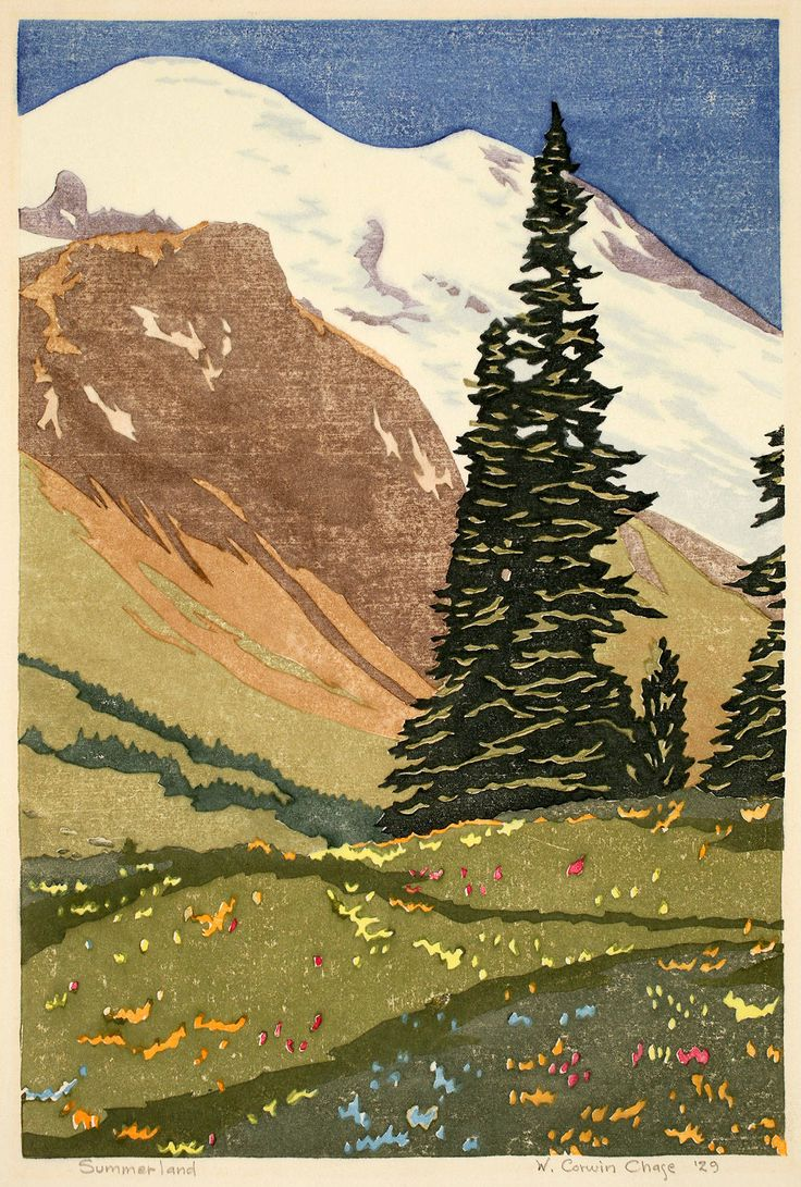 """""""Summerland"""" by Corwin Chase is a color woodblock print from 1929."""