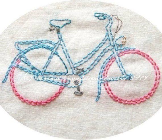 Patrón de bordado The Freewheelin ' bicicletas por polkaandbloom
