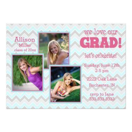 2016 Chevron Graduation Party Invitation - graduation party invitations card cards cyo grad celebration