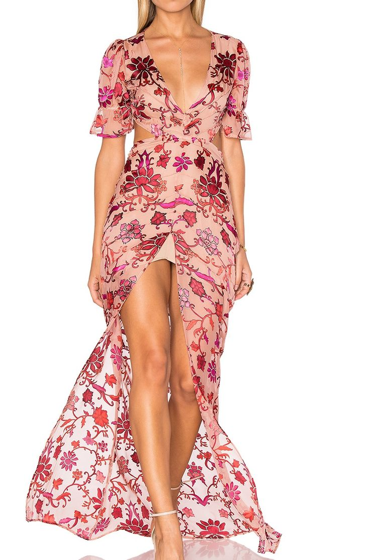 FOR HIRE: FOR LOVE AND LEMONS SAFFRON MAXI DRESS IN SUNSET FLORAL