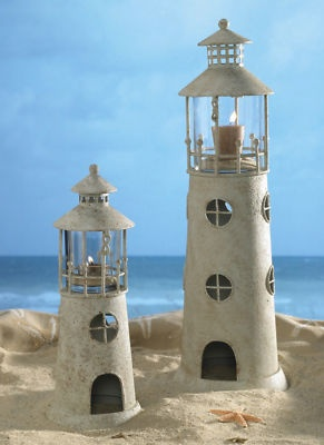 Sandcastle look - Lighthouse candle holders.