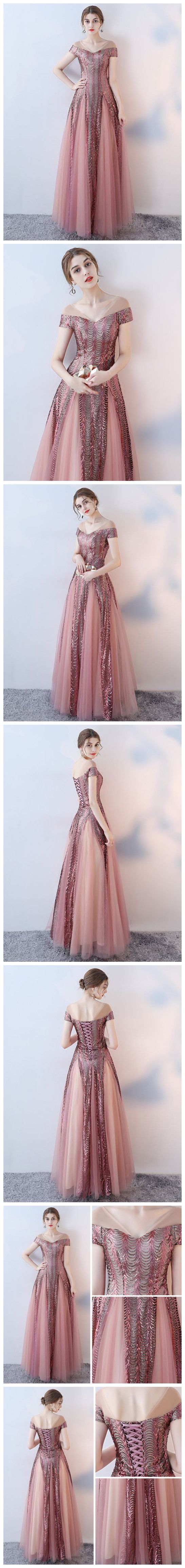 CHIC A-LINE V-NECK PINK FLOOR LENGTH SEQUINS LONG PROM DRESS EVENING DRESS AM619