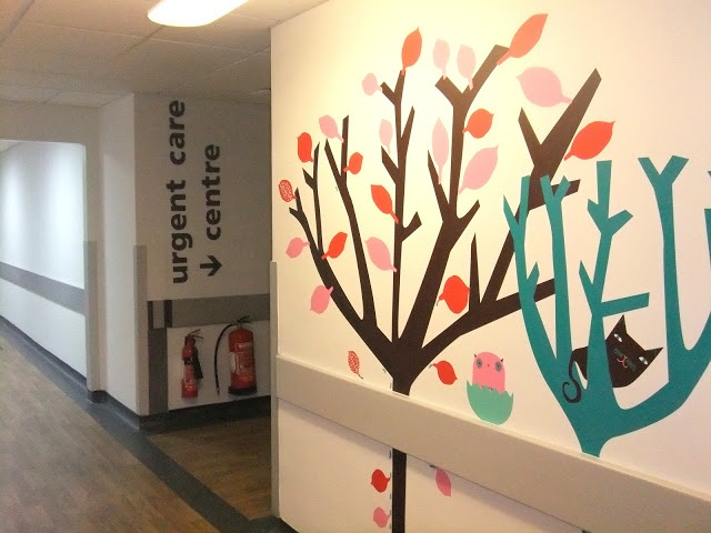 Leaves and Twigs: Friendly Forest for St Georges Hospital Children's Emergency Department. So lovely to see a cheery mural from Donna Wilson to help make a hospital a little less scary for kids.