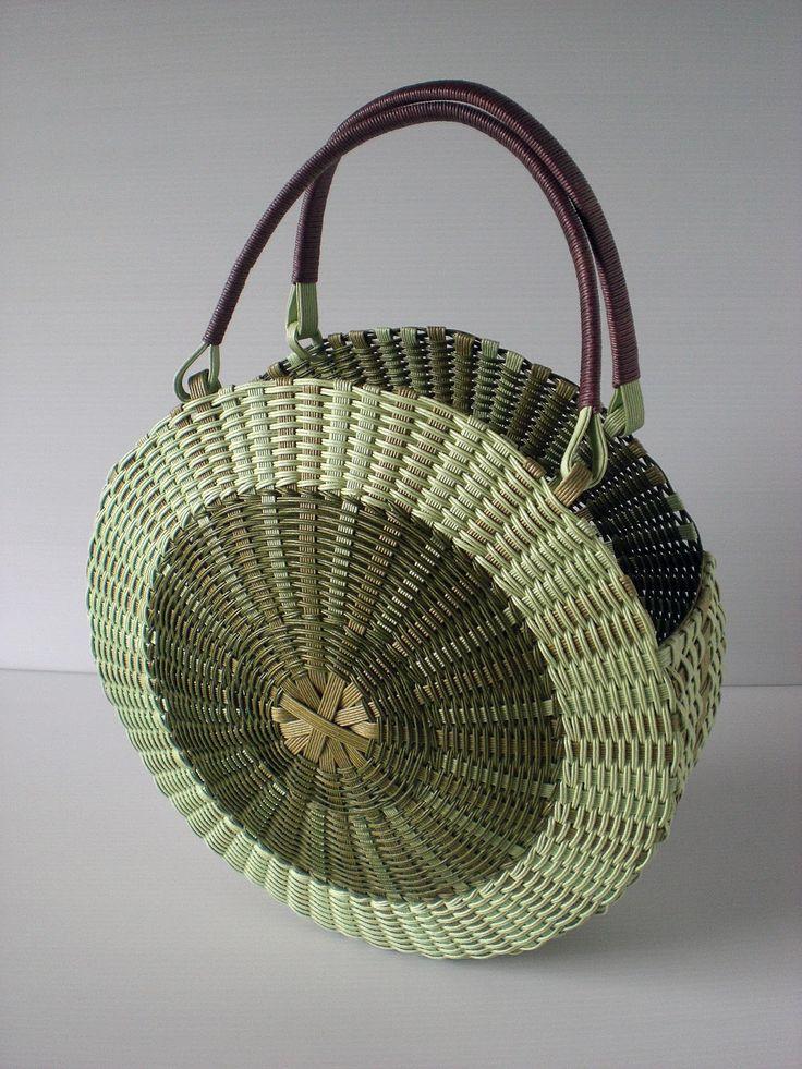 白樺がんび籠編みノート: 古木明美 編んだり、組んだりエコクラフトのバッグとかご P58丸バッグ