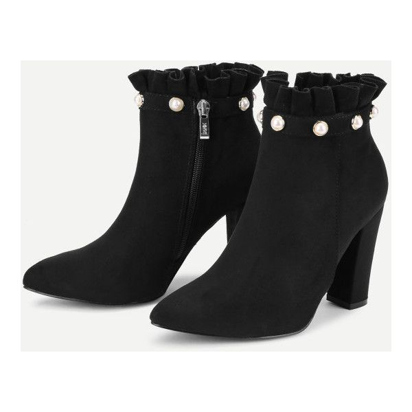 Faux Pearl Ruffle Trim Block Heeled Boots -SheIn(Sheinside) ($48) ❤ liked on Polyvore featuring shoes, boots, block heel boots and block heel shoes