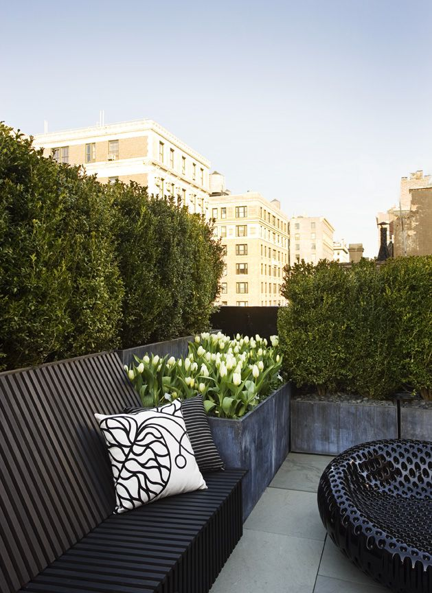 Built-in bench and planters on roof garden // Plant Specialists