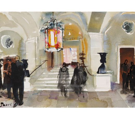 Print 4 – The Foyer of King's Inns - The Honorable Society of King's Inns. In late 2014, King's Inns commissioned a renowned Irish based artist, John Short, to do a new King's Inns print series. Every print sold will be personally signed and numbered by the artist and hand embossed with the historic '1541' bronze seal of King's Inns. Dimensions for each print: 41.5inches by 21inches.