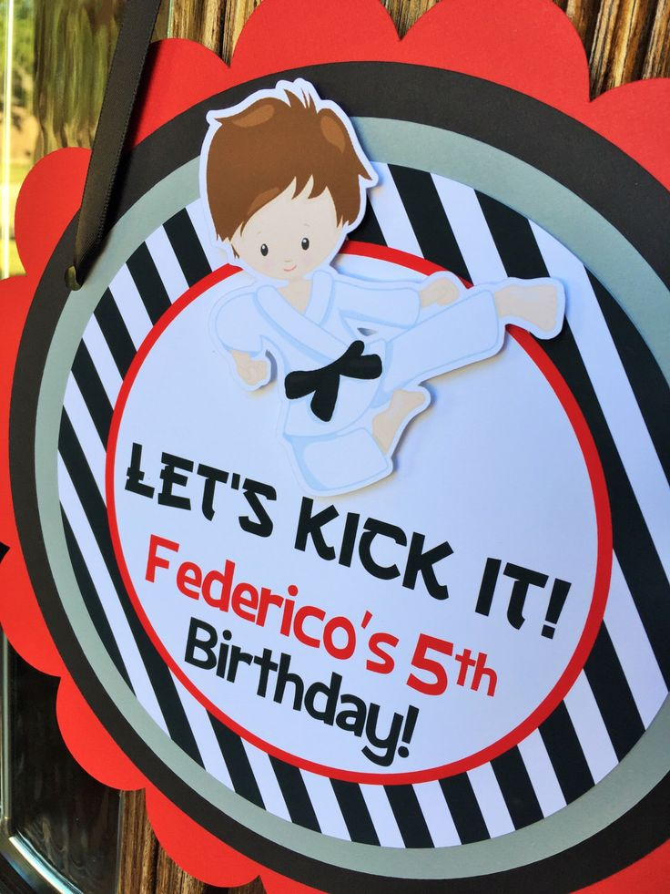 Karate Birthday Party Personalized Welcome Door Sign in Red and Black - Karate Party Decorations - Karate Door Hanger by sweetheartpartyshop on Etsy https://www.etsy.com/listing/254571754/karate-birthday-party-personalized