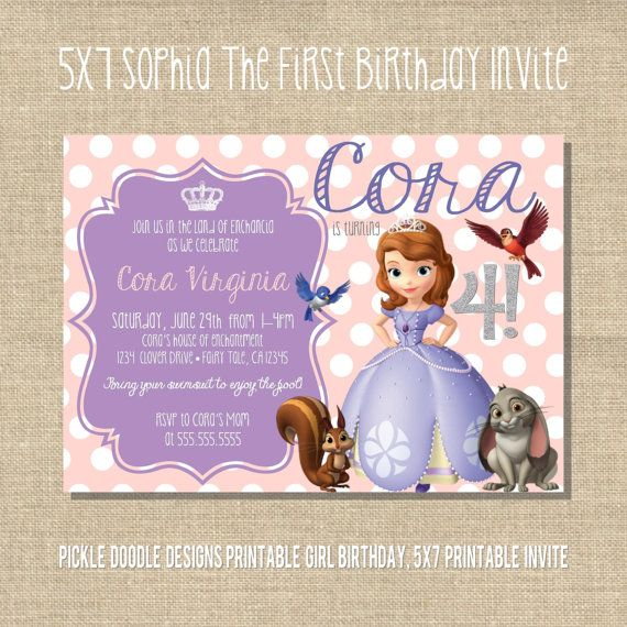 Sophia The First Birthday Invitation by pickledoodledesigns, $15.00