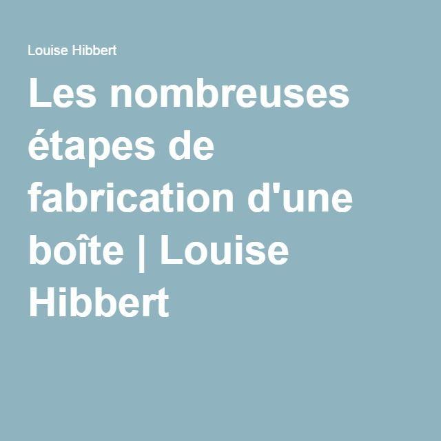 Les nombreuses étapes de fabrication d'une boîte | Louise Hibbert
