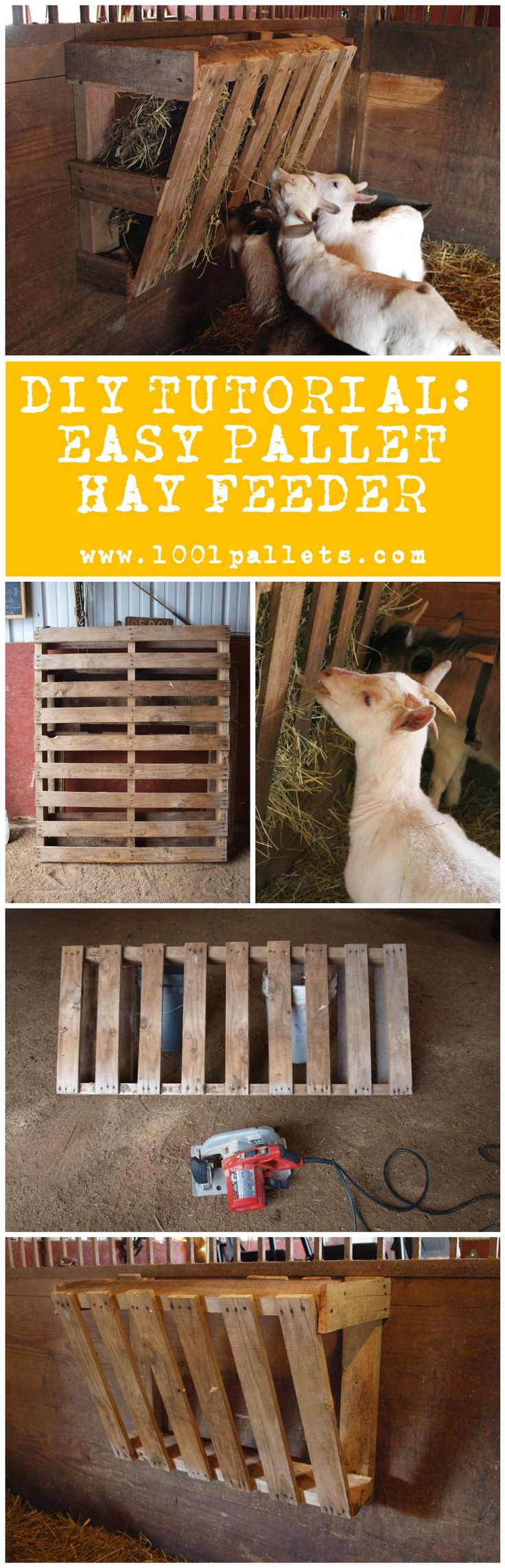 """Elizabeth Ohiothoughts from the blog """"Ohiothoughts"""" in collaboration with 1001Pallets will describe how to make an easy pallet hay feeder …                                                                                                                                                                                 More"""