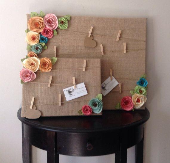 Cork board. Message board. Note board. Burlap shabby by kC2Designs, $28.00