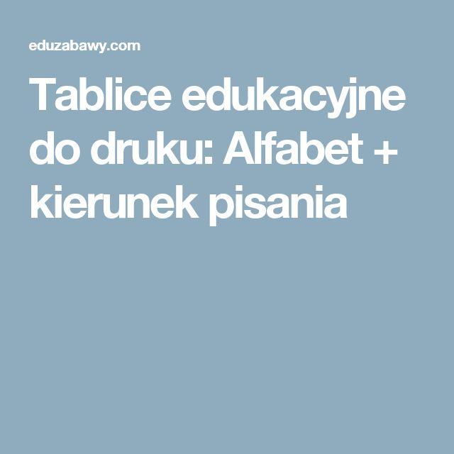 Tablice edukacyjne do druku: Alfabet + kierunek pisania
