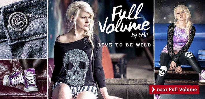 Full Volume by EMP  EMP Full Volume staat al langer dan 25 jaar voor een zeer buitengewone levensstijl. Dit merk staat helemaal voor rock & metal. Wij leveren basic shirts en truien en vesten met capuchon met klassiek metalontwerp. De prints variëren van boodschappers van de dood tot schedels en simpele, zwart-witte prints van duistere wezens. Het beste is natuurlijk dat ieder kledingstuk de LARGE Rockhand draagt. Klik op de banner om naar Full Volume te gaan.