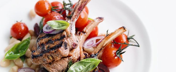 Lamb Cutlets with White Bean and Tomato Salad, bought to you by MiNDFOOD.