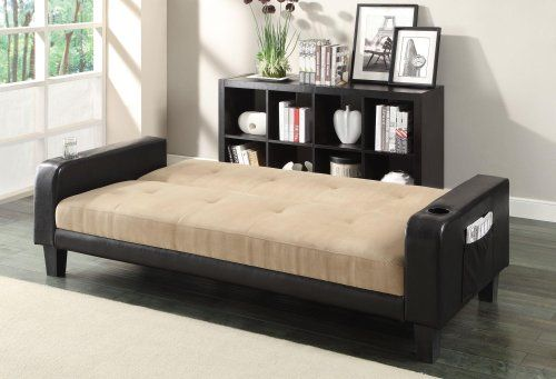 Sofa Beds Collection Contemporary Adjustable Sofa Bed with Cup Holders Magazine Storage and Khaki Microfiber Upholstery in Dark Brown