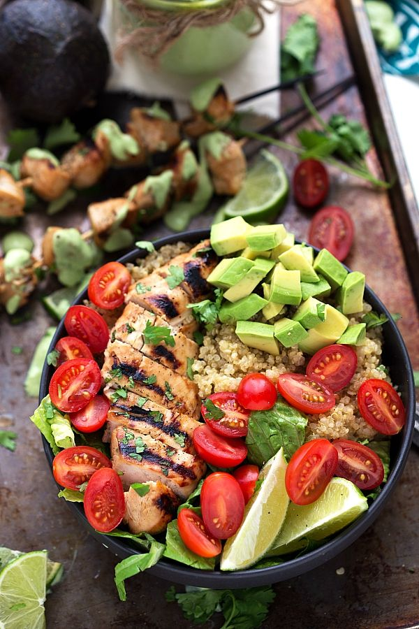 The BEST grilled honey lime chicken with a delicious cilantro avocado sauce