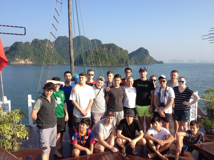 Enjoying time with friends while cruising past thousands of limestone karsts and isles. #VietnamSchoolTours #HalongBay