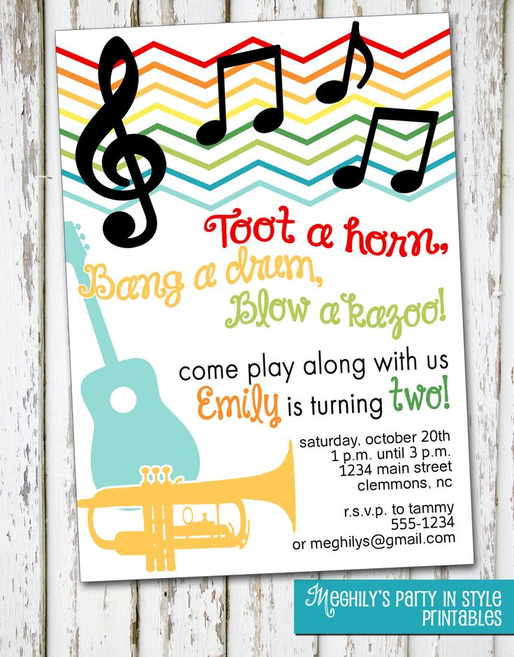 Music  Musical Instruments Invitation by Meghilys on Etsy, $8.00