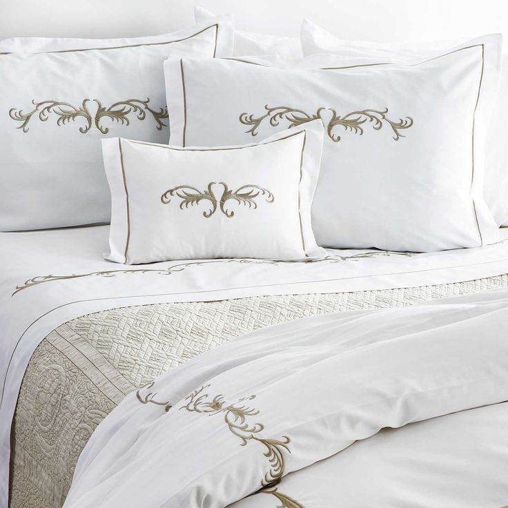 Traditions Linens Teara bedding collection is 320 TC Cotton sateen with exquisite scroll embroidery.