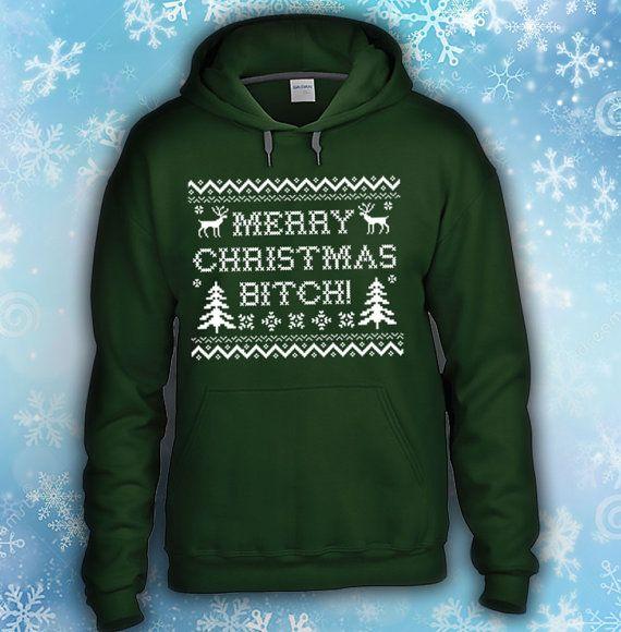 Ugly Christmas Funny Sweater -Brand New 2013 Merry Christmas Bitch Hooded Sweatshirt , Jesse Pinkman, Breaking Bad, Heisenberg, Los Polos