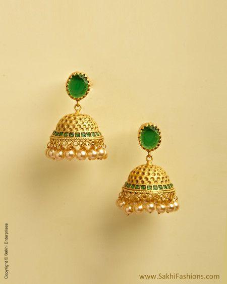 5db87e408 Gold & Green Mix Metal Big Jumka | Mix Metal | SakhiFashions | Sakhi  Fashions | Gold:jewellery n art pieces | Jewelry, Gold earrings, Earrings