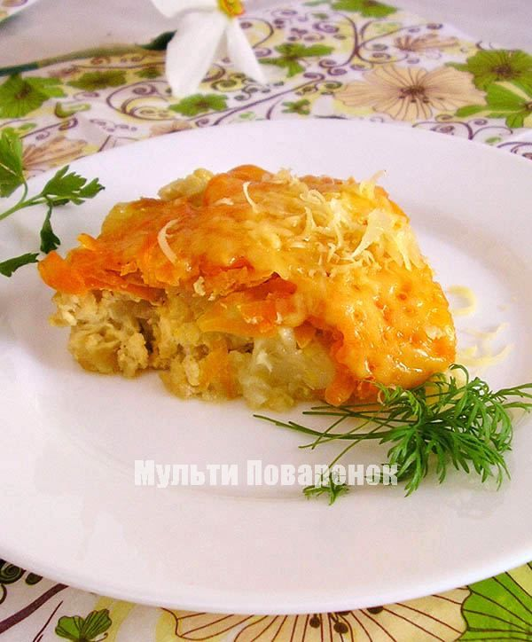 Запеканка из цветной капусты в мультиварке: рецепт под морковно-сырной корочкой