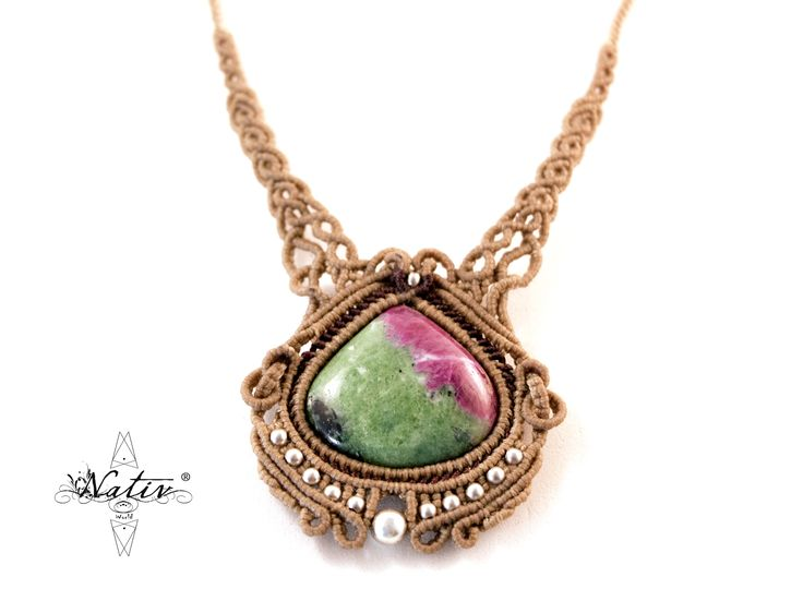 Macrame Necklace with Rubi and Zoizite #macrame #handmade #stones #macramejewelry #handmadejewelry #rubi #zoizite #silver #Nativ #NativWorld