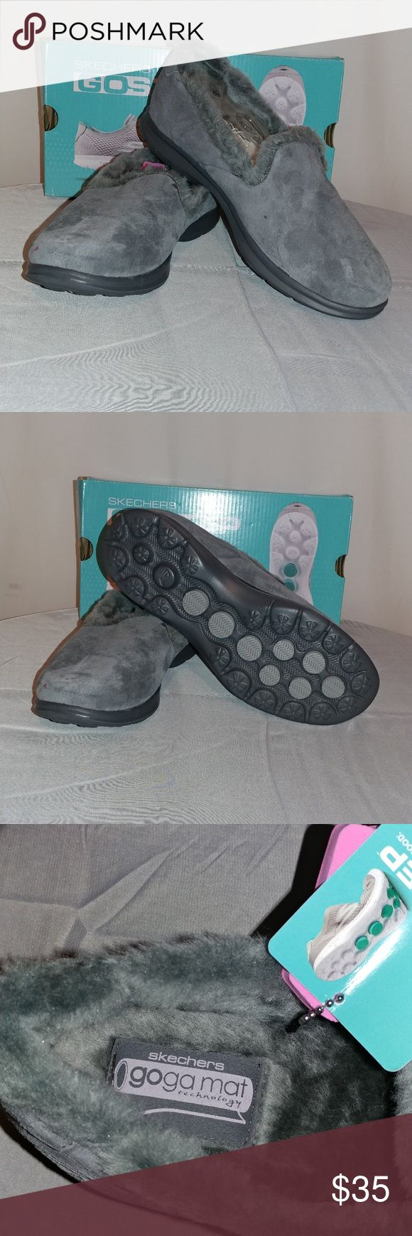 Women's shoes Comfortable and great for your feet go step Skechers size six and a half memory foam inner lining is completely lined with fur suede man-made material on the outside Gray in color brand new never worn with tags and in the Box Shoes Flats & Loafers
