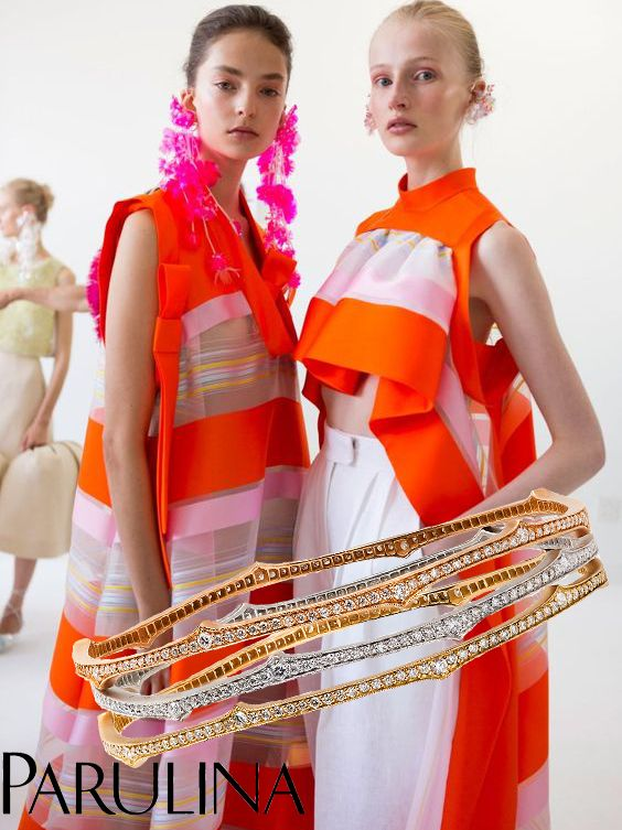 Summery weather here in New York makes us excited for the warmer weather and there is no better accessory in the summertime than a good stack of bangles. We love our stack mixed in different metals, combines with diamonds. Summery colors brought to you by Delpozo spring 2017 collection. What fun visuals! #parulina #highfashion #finejewelry #livegoldlove #bling #jewelry #jewellery #jewels #luxury