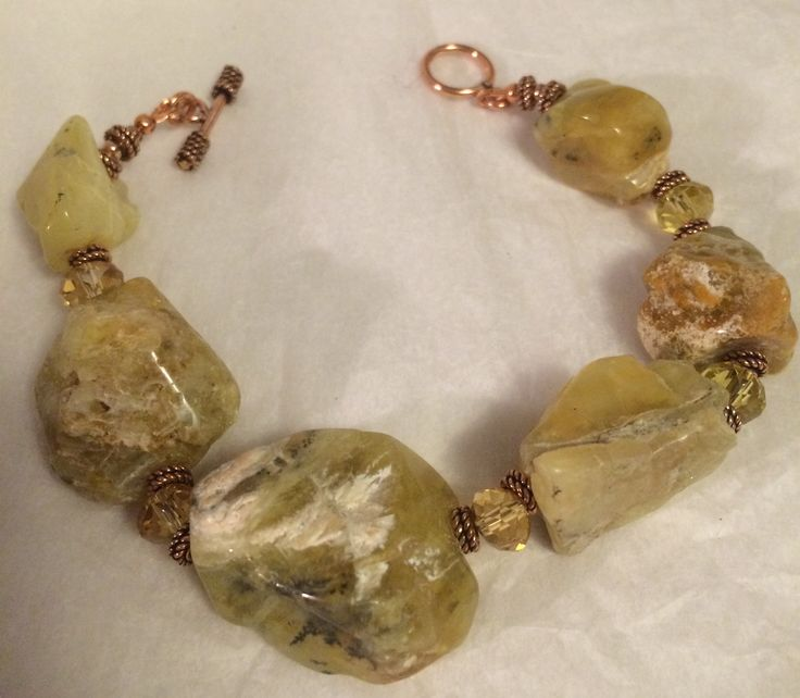 Rough cut citrine and crystal bracelet