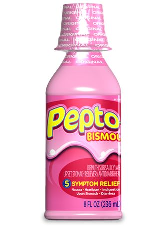 Pepto-Bismol Original Liquid; probably what Phoebe uses, at low-down, good-for-nothin' times--after all it's pink