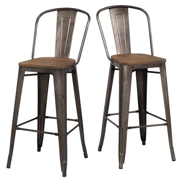 Tabouret Bistro Wood Seat Vintage Finish Bar Stools (Set of 2) - Overstock™ Shopping - Great Deals on Bar Stools