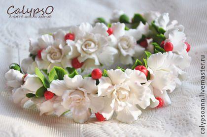 """Ободок и заколка """"Snow white"""" - ободок с цветами,обруч для волос,обруч с цветами"""