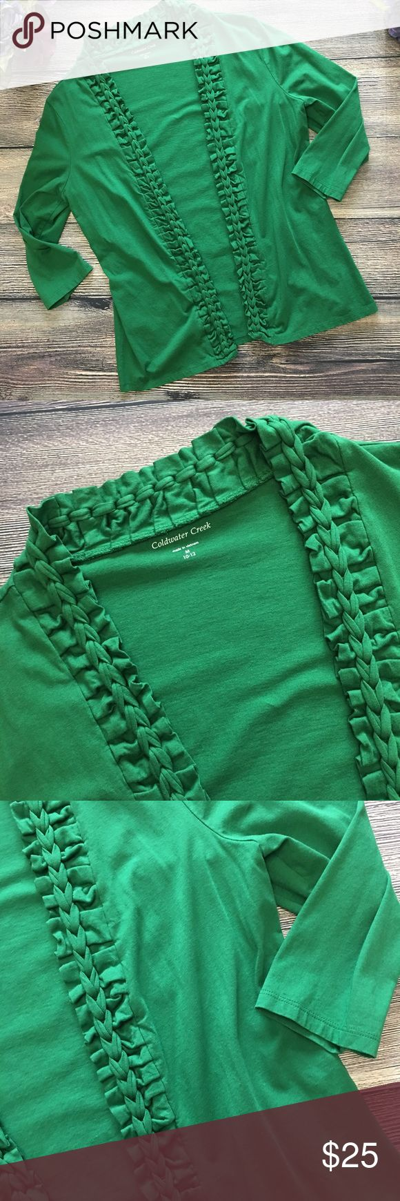"Coldwater Creek Braided lapel cardigan med 10/12 From Coldwater Creek, this open cardigan is perfect for St. Patrick's Day - and will come in handy all year round. A blend of cotton/modal, soft and easy to wear. Longer length. Braided lapel with ruffle edging takes her beyond your standard cardi. Brilliant kelly green and in like new condition. Offers warmly received.   Size: Medium 10/12 Approx bust/pit to pit: 19"" Approx length when laid flat: 25"" Fabric content: Cotton/modal Coldwater…"