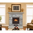 300 Electric Fireplace with Mantel and Multicolor Stone Facade — 5115 BTU, Model# POLY-0232