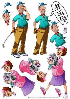 Golf Irons Decoupage Sheet on Craftsuprint designed by Gordon Fraser - Golf Dude meets his match with Mrs Golf Dude! Decoupage sheet version with loads of options to create your own golf Dude designs! More versions of this design are available. Don't forget to check out my other Dude designs, cartoons and illustrations! - Now available for download!
