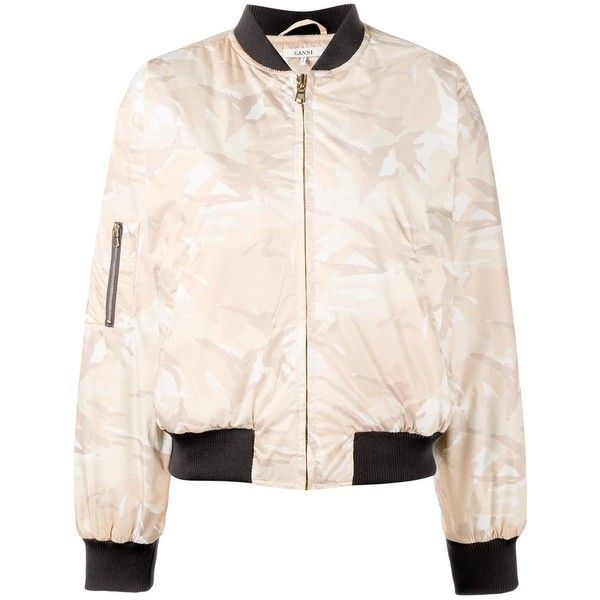 Ganni Ganni Camouflage Bomber Jacket (695 BRL) ❤ liked on Polyvore featuring outerwear, jackets, camoflage jacket, pink quilted jacket, camouflage jacket, stand collar jacket and pink camo jacket