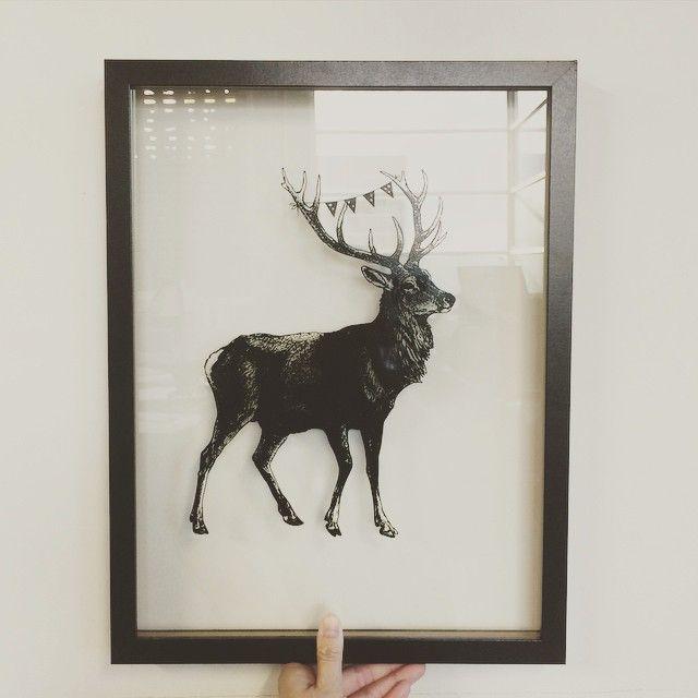 """Printing on GLASS! Now that is COOL!  #glassprinting #silkscreen #screenprint #deer #home #interior #frames #deco #homedeco #custom #design #graphics #vector"""