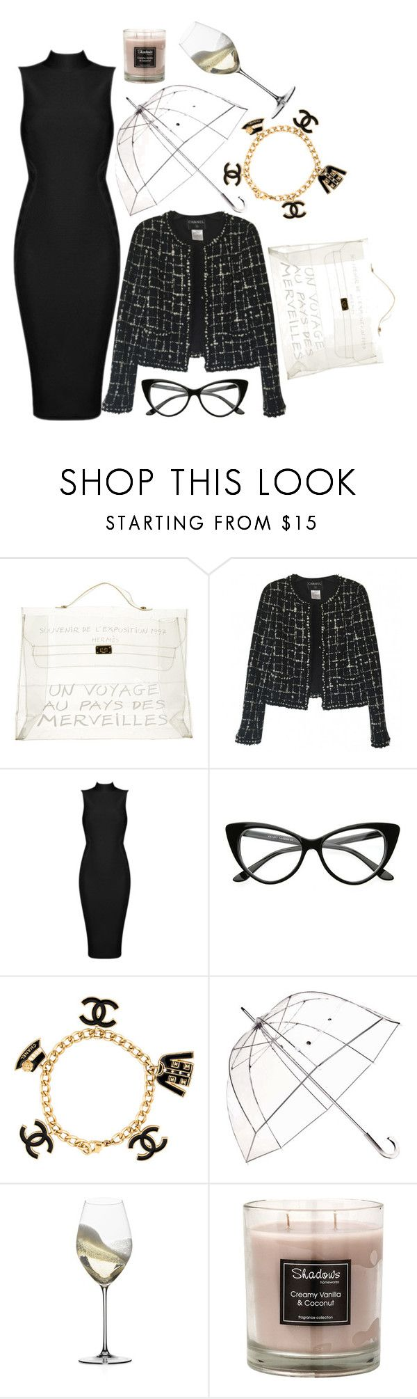 """Untitled #282"" by alratajalsayegh ❤ liked on Polyvore featuring Hermès, Chanel, Totes, Riedel, clear and Seethru"