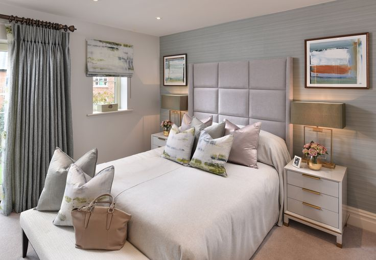 The calming neutral tones in our exquisite #masterbedroom create the perfect sanctuary; graceful and serene with sumptuous duck egg Calypso curtains. #interiordesign #luxurylife #luxury #london #luxuryproperty #luxuryhomes #londonproperty #luxuryinteriors